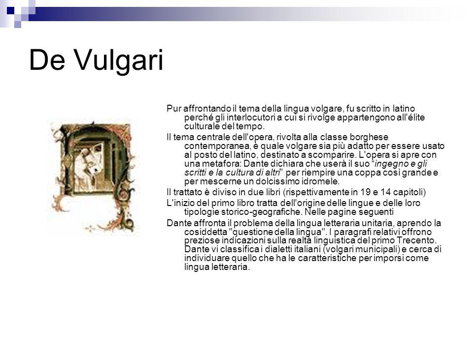 De Vulgari Pur affrontando il tema della lingua volgare, fu scritto in latino perché gli interlocutori a cui si rivolge appartengono all'élite cultura