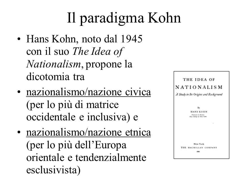 Il paradigma Kohn Hans Kohn, noto dal 1945 con il suo The Idea of Nationalism, propone la dicotomia tra nazionalismo/nazione civica (per lo più di matrice occidentale e inclusiva) e nazionalismo/nazione etnica (per lo più dell'Europa orientale e tendenzialmente esclusivista)