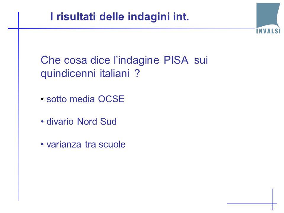 I risultati delle indagini int. PISA che cosa non ci dice? - risultati scuola per scuola - misura valore aggiunto - la situazione rispetto alle indica