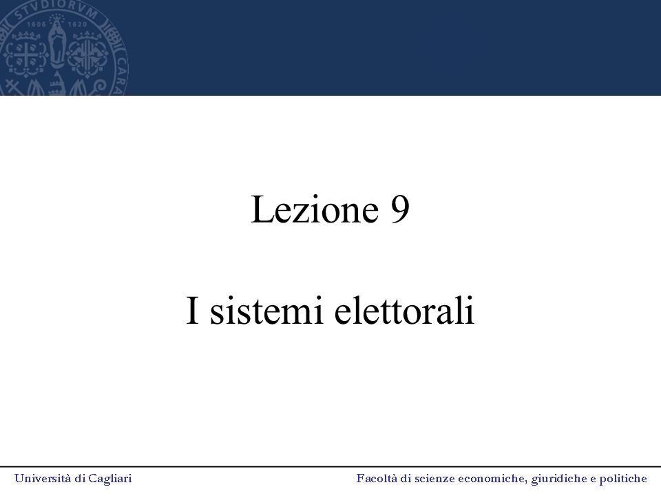 Lezione 9 I sistemi elettorali