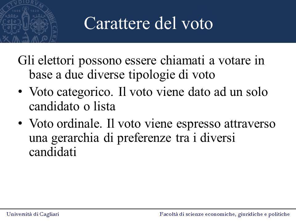 Carattere del voto Gli elettori possono essere chiamati a votare in base a due diverse tipologie di voto Voto categorico. Il voto viene dato ad un sol