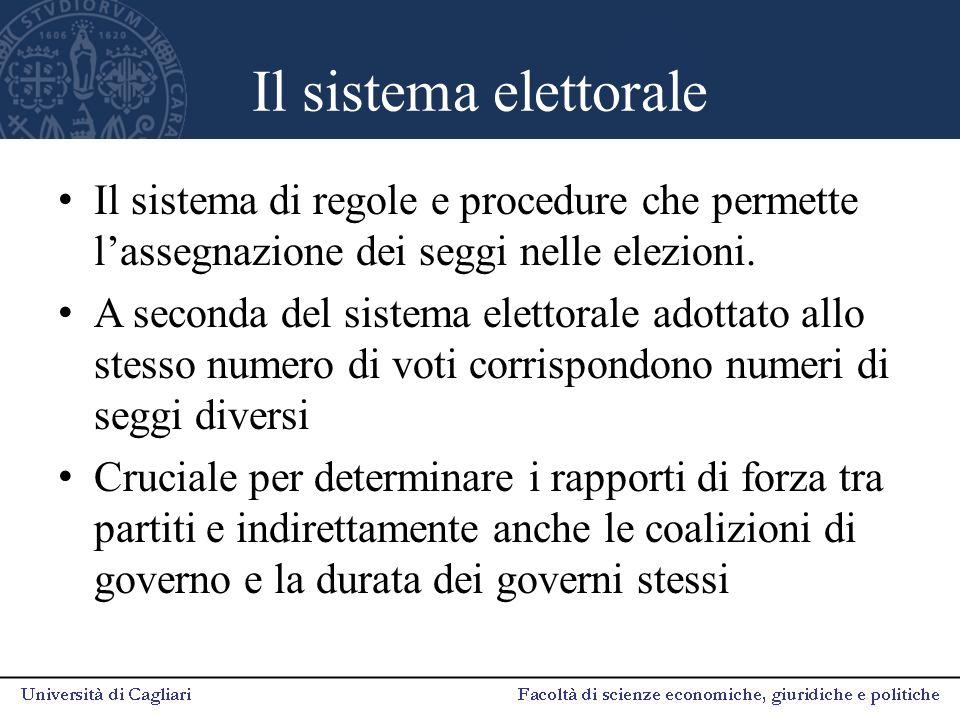 Il sistema elettorale Il sistema di regole e procedure che permette l'assegnazione dei seggi nelle elezioni. A seconda del sistema elettorale adottato