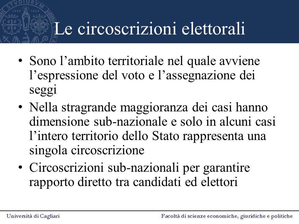 Le circoscrizioni elettorali Sono l'ambito territoriale nel quale avviene l'espressione del voto e l'assegnazione dei seggi Nella stragrande maggioran