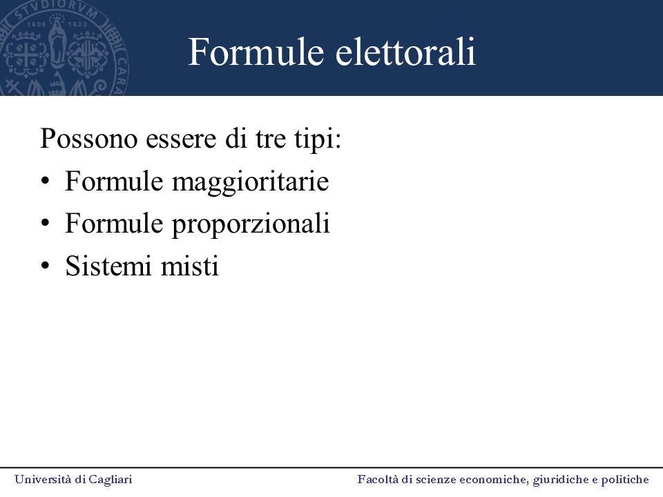 Formule elettorali Possono essere di tre tipi: Formule maggioritarie Formule proporzionali Sistemi misti