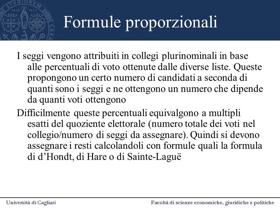 Formule proporzionali I seggi vengono attribuiti in collegi plurinominali in base alle percentuali di voto ottenute dalle diverse liste. Queste propon
