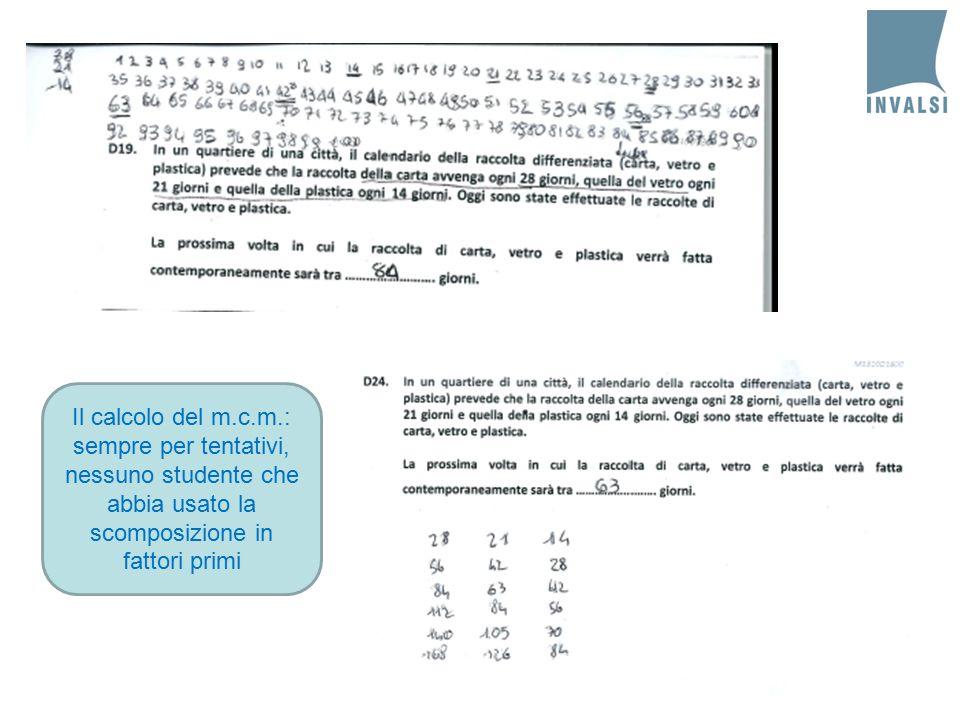Il calcolo del m.c.m.: sempre per tentativi, nessuno studente che abbia usato la scomposizione in fattori primi