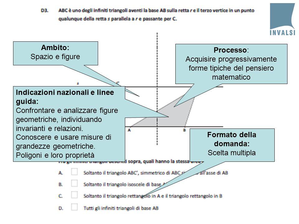 Ambito: Spazio e figure Processo: Acquisire progressivamente forme tipiche del pensiero matematico Indicazioni nazionali e linee guida: Confrontare e analizzare figure geometriche, individuando invarianti e relazioni.