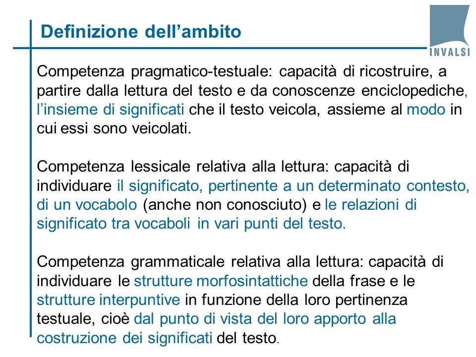 Competenza pragmatico-testuale: capacità di ricostruire, a partire dalla lettura del testo e da conoscenze enciclopediche, l'insieme di significati che il testo veicola, assieme al modo in cui essi sono veicolati.