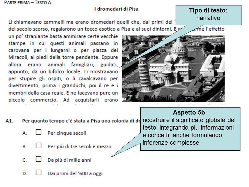 Aspetto 5b: ricostruire il significato globale del testo, integrando più informazioni e concetti, anche formulando inferenze complesse Tipo di testo: narrativo