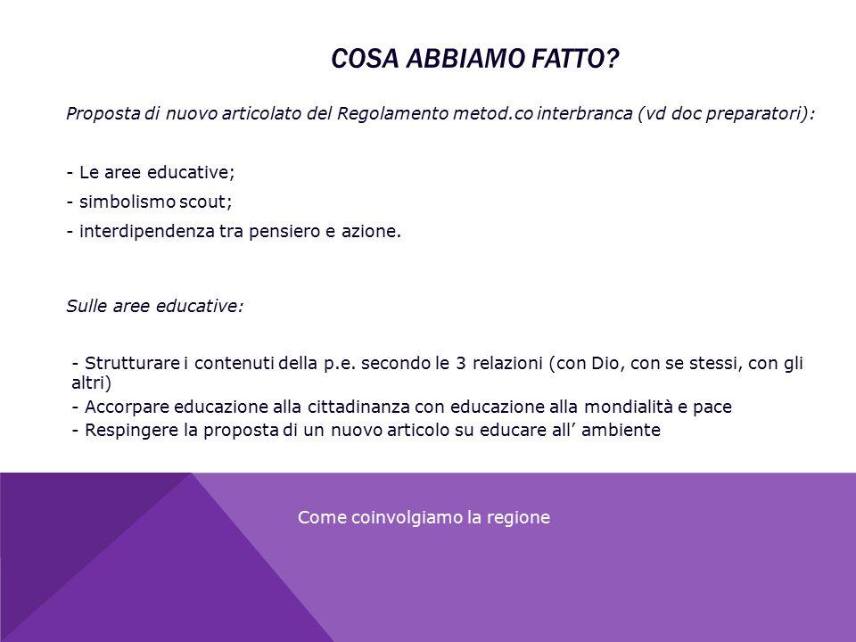 Proposta di nuovo articolato del Regolamento metod.co interbranca (vd doc preparatori): - Le aree educative; - simbolismo scout; - interdipendenza tra