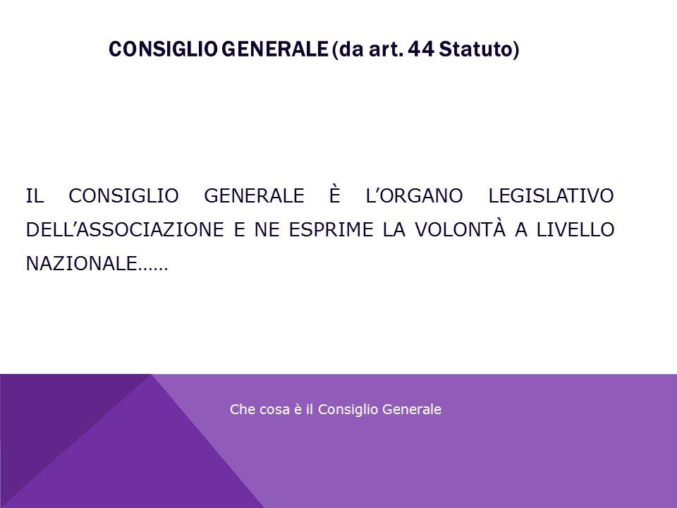 CONSIGLIO GENERALE (da art. 44 Statuto) Che cosa è il Consiglio Generale IL CONSIGLIO GENERALE È L'ORGANO LEGISLATIVO DELL'ASSOCIAZIONE E NE ESPRIME L