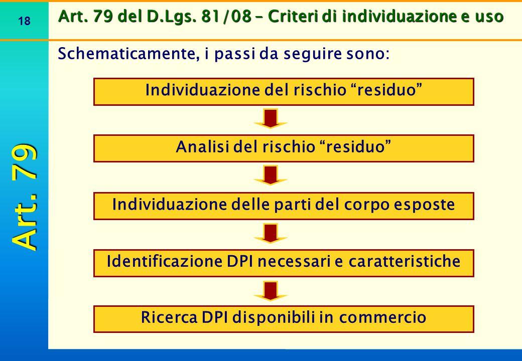 """18 Art. 79 del D.Lgs. 81/08 – Criteri di individuazione e uso Schematicamente, i passi da seguire sono: Individuazione del rischio """"residuo"""" Individua"""