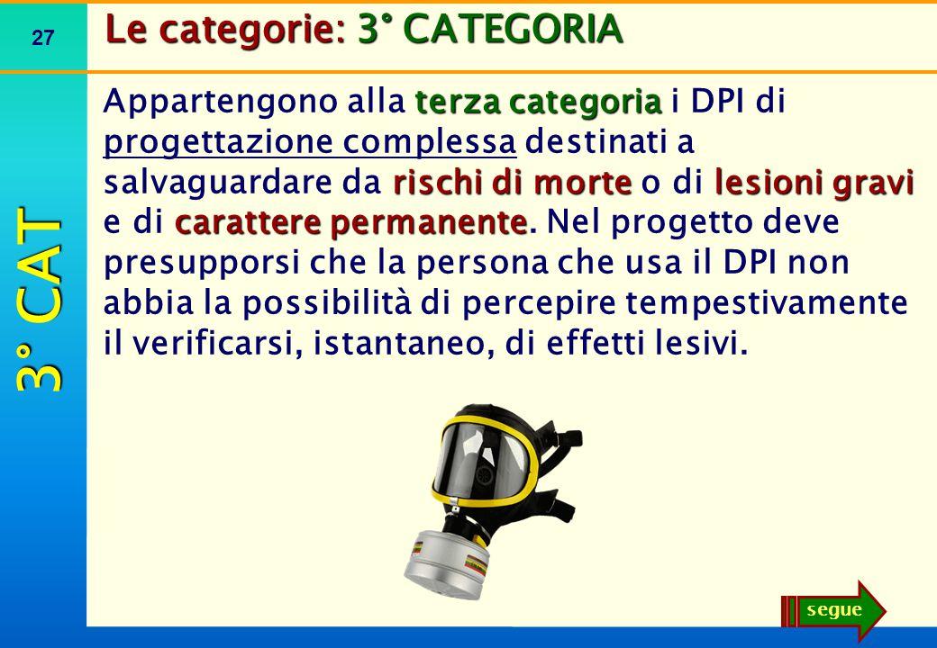 27 Le categorie: 3° CATEGORIA terza categoria rischi di mortelesioni gravi carattere permanente Appartengono alla terza categoria i DPI di progettazio