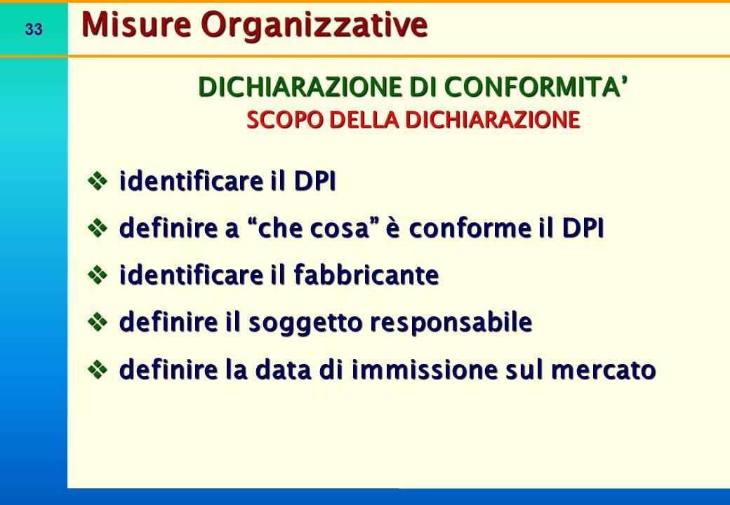 """33 DICHIARAZIONE DI CONFORMITA' SCOPO DELLA DICHIARAZIONE  identificare il DPI  definire a """"che cosa"""" è conforme il DPI  identificare il fabbricant"""