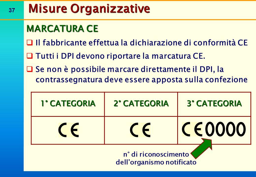 37 MARCATURA CE  Il fabbricante effettua la dichiarazione di conformità CE  Tutti i DPI devono riportare la marcatura CE.  Se non è possibile marca