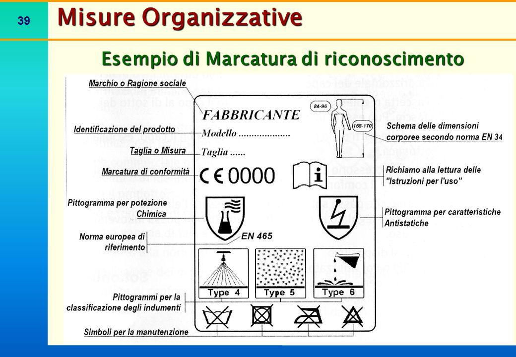 39 Esempio di Marcatura di riconoscimento Misure Organizzative