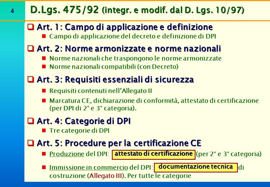 4  Art. 1: Campo di applicazione e definizione Campo di applicazione del decreto e definizione di DPI  Art. 2: Norme armonizzate e norme nazionali N