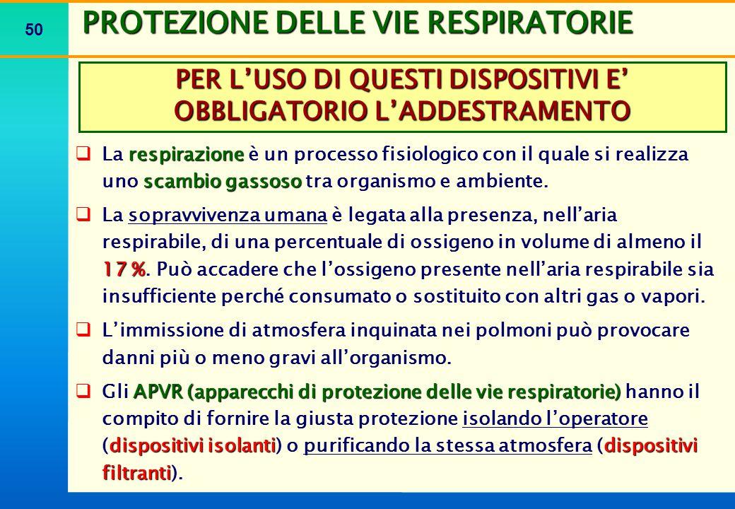 50 PROTEZIONE DELLE VIE RESPIRATORIE respirazione scambio gassoso  La respirazione è un processo fisiologico con il quale si realizza uno scambio gas