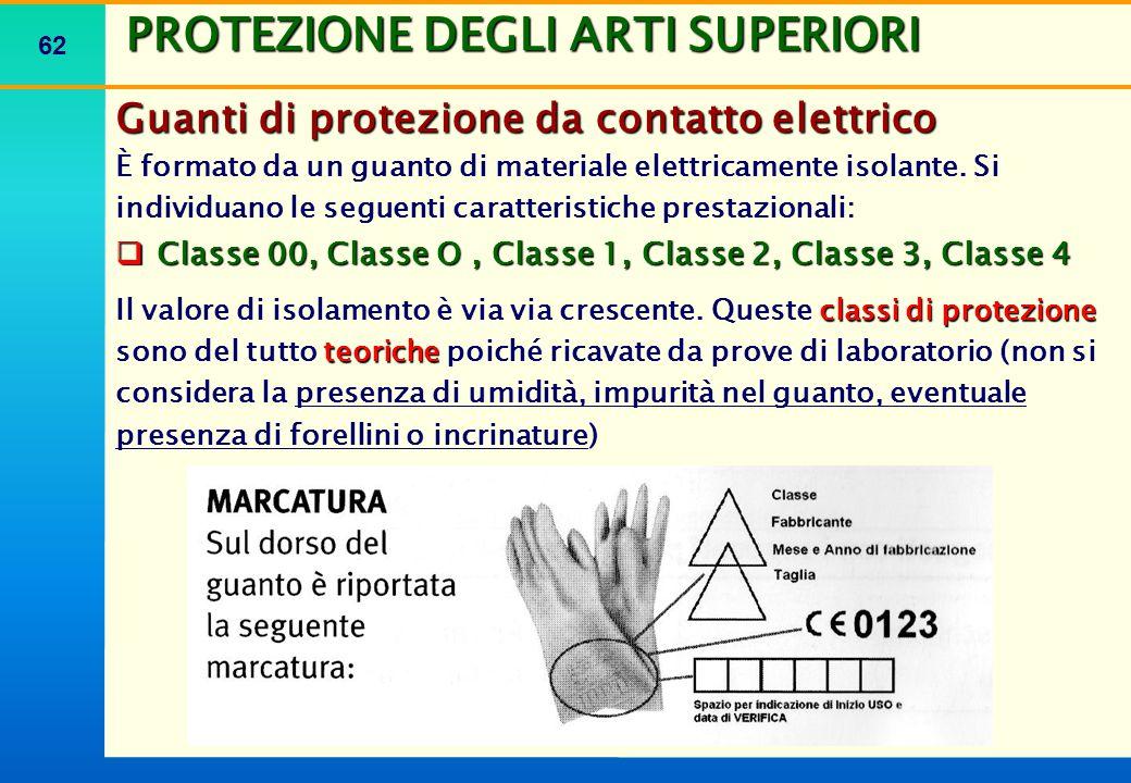 62 PROTEZIONE DEGLI ARTI SUPERIORI Guanti di protezione da contatto elettrico È formato da un guanto di materiale elettricamente isolante. Si individu