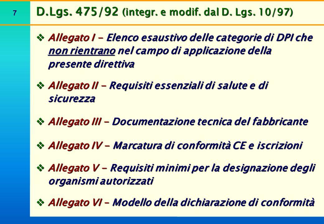 7  Allegato I - Elenco esaustivo delle categorie di DPI che non rientrano nel campo di applicazione della presente direttiva  Allegato II - Requisit