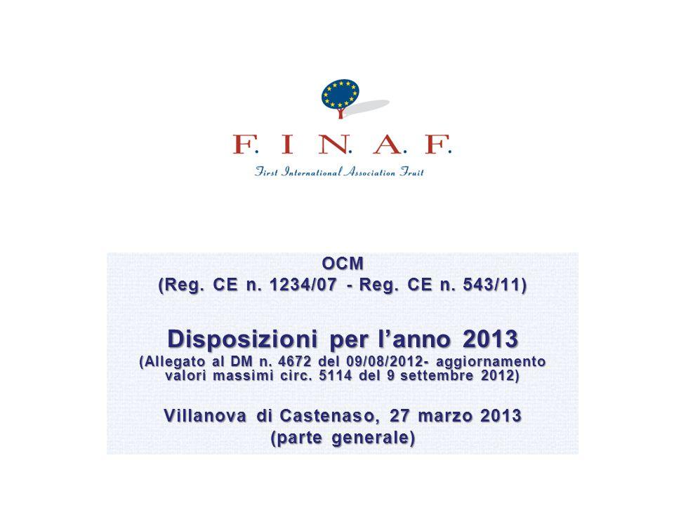 OCM (Reg. CE n. 1234/07 - Reg. CE n. 543/11) Disposizioni per l'anno 2013 (Allegato al DM n. 4672 del 09/08/2012- aggiornamento valori massimi circ. 5