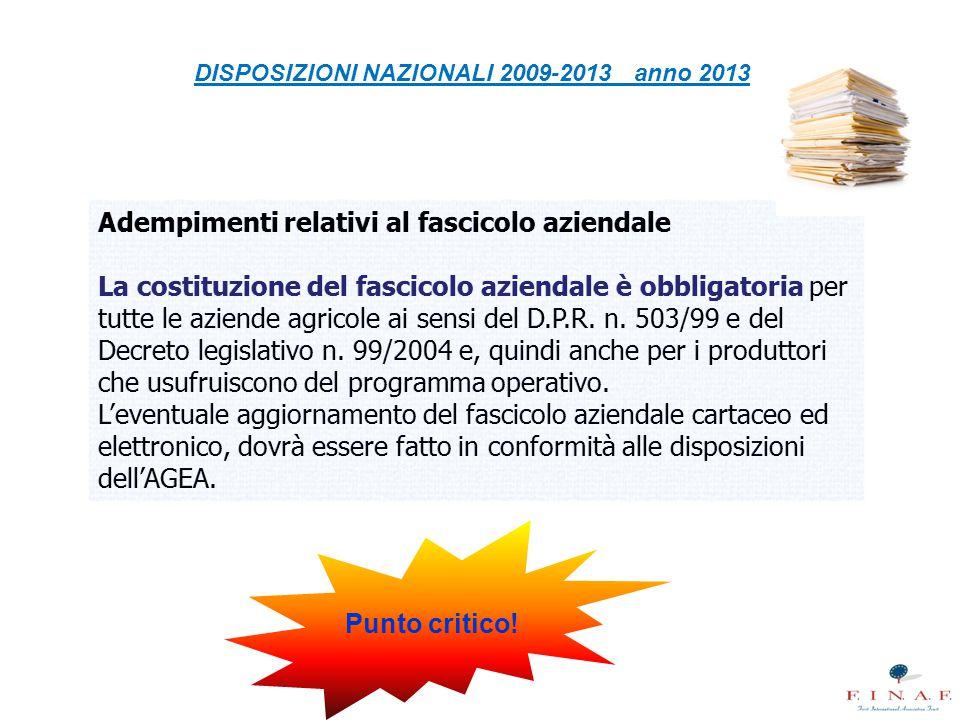 DISPOSIZIONI NAZIONALI 2009-2013 anno 2013 Punto critico!