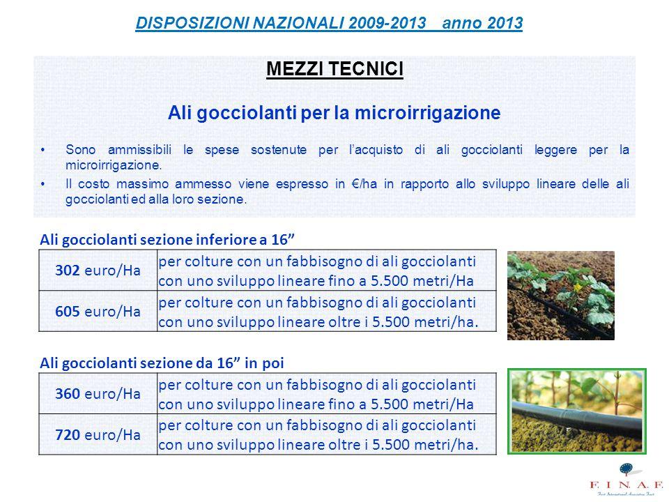 MEZZI TECNICI Ali gocciolanti per la microirrigazione Sono ammissibili le spese sostenute per l'acquisto di ali gocciolanti leggere per la microirriga