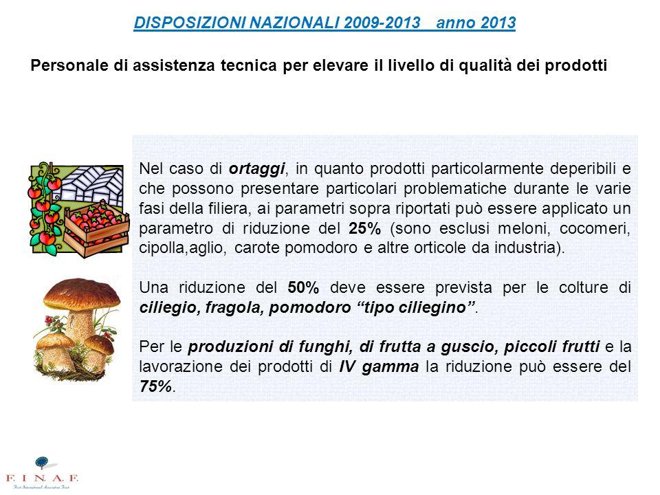 Personale di assistenza tecnica per elevare il livello di qualità dei prodotti DISPOSIZIONI NAZIONALI 2009-2013 anno 2013 Nel caso di ortaggi, in quan