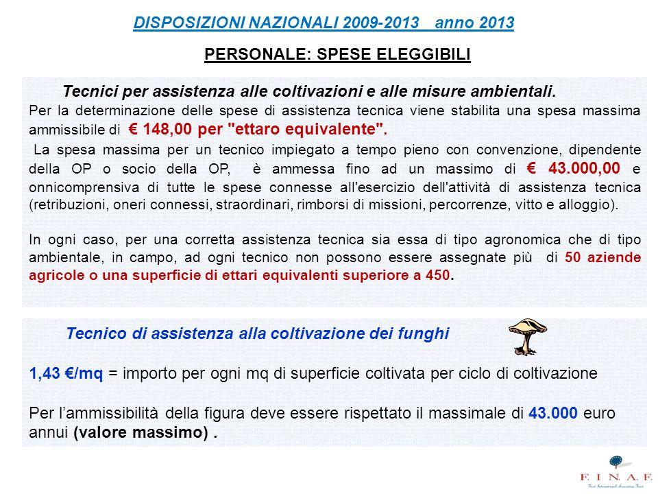 PERSONALE: SPESE ELEGGIBILI Tecnici per assistenza alle coltivazioni e alle misure ambientali. Per la determinazione delle spese di assistenza tecnica
