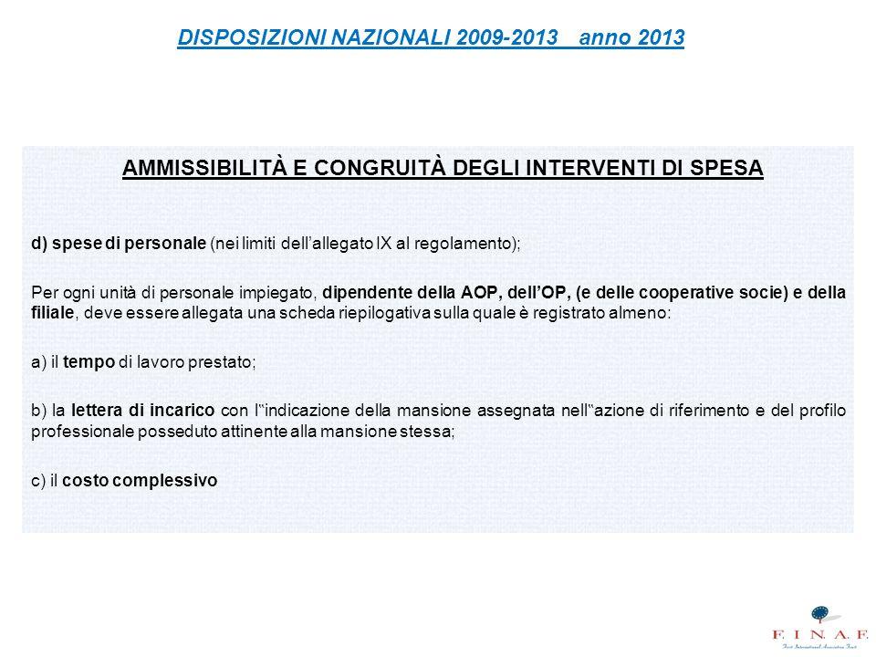 AMMISSIBILITÀ E CONGRUITÀ DEGLI INTERVENTI DI SPESA d) spese di personale (nei limiti dell'allegato IX al regolamento); Per ogni unità di personale im