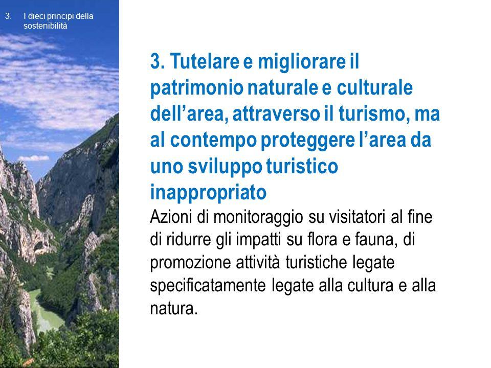 3. Tutelare e migliorare il patrimonio naturale e culturale dell'area, attraverso il turismo, ma al contempo proteggere l'area da uno sviluppo turisti