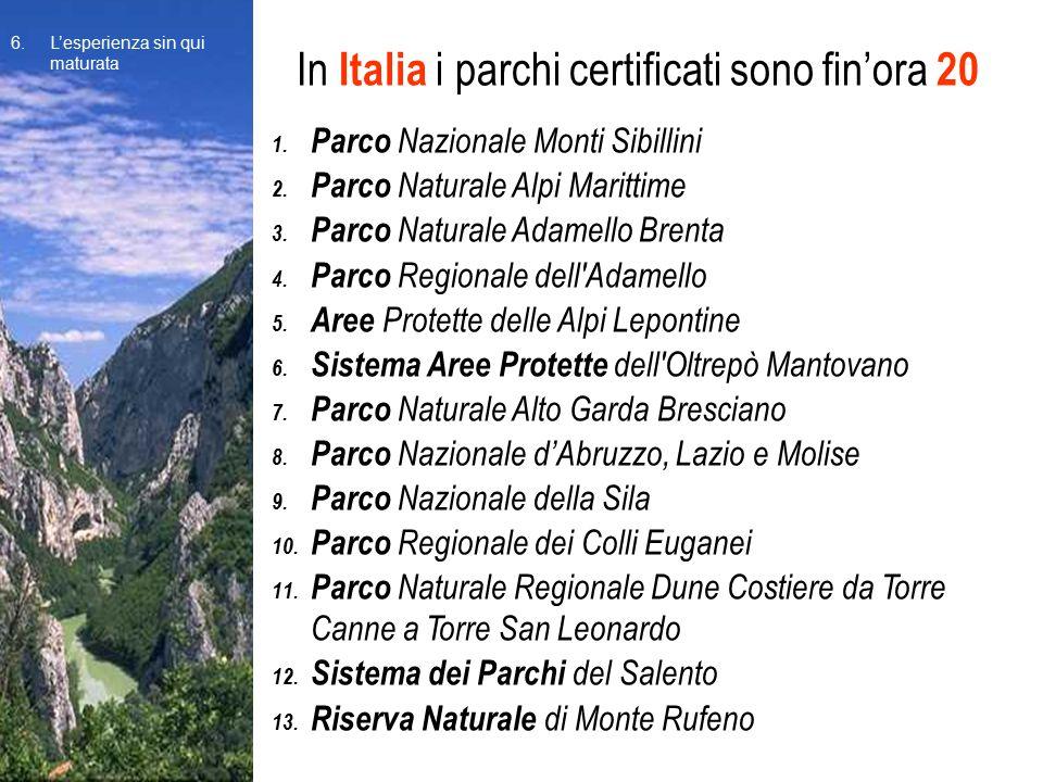 In Italia i parchi certificati sono fin'ora 20 1. Parco Nazionale Monti Sibillini 2. Parco Naturale Alpi Marittime 3. Parco Naturale Adamello Brenta 4
