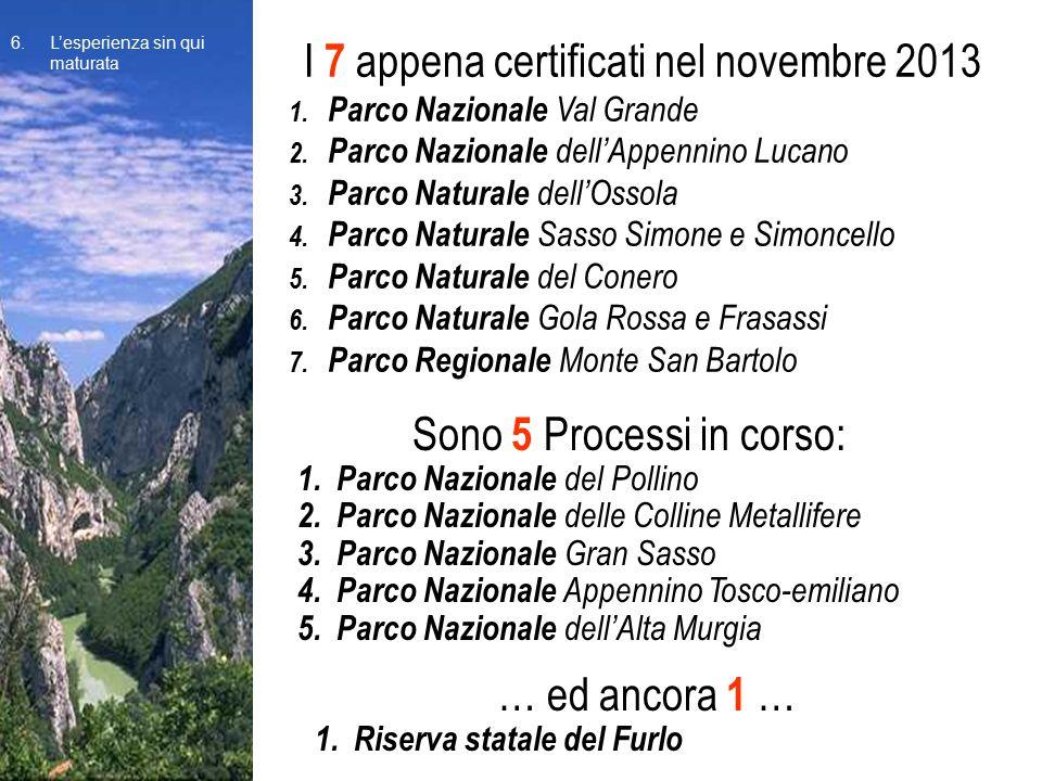 I 7 appena certificati nel novembre 2013 1. Parco Nazionale Val Grande 2. Parco Nazionale dell'Appennino Lucano 3. Parco Naturale dell'Ossola 4. Parco