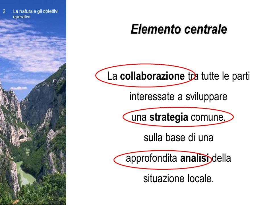 Elemento centrale La collaborazione tra tutte le parti interessate a sviluppare una strategia comune, sulla base di una approfondita analisi della situazione locale.