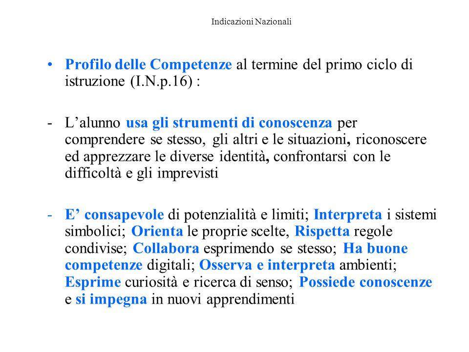 Indicazioni Nazionali Profilo delle Competenze al termine del primo ciclo di istruzione (I.N.p.16) : -L'alunno usa gli strumenti di conoscenza per com