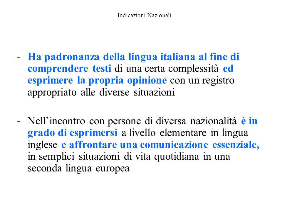 Indicazioni Nazionali -Ha padronanza della lingua italiana al fine di comprendere testi di una certa complessità ed esprimere la propria opinione con