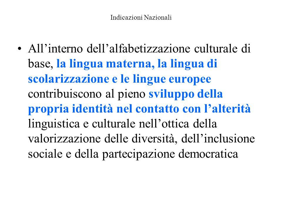 Indicazioni Nazionali All'interno dell'alfabetizzazione culturale di base, la lingua materna, la lingua di scolarizzazione e le lingue europee contrib