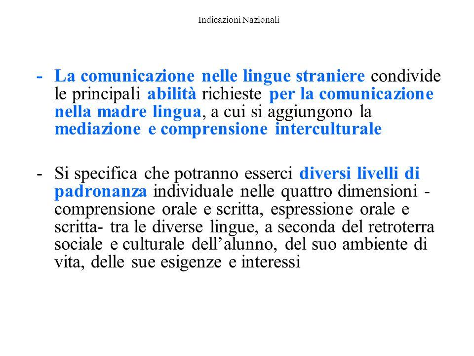 Indicazioni Nazionali -La comunicazione nelle lingue straniere condivide le principali abilità richieste per la comunicazione nella madre lingua, a cu