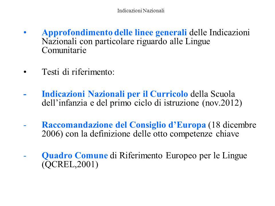 Indicazioni Nazionali Approfondimento delle linee generali delle Indicazioni Nazionali con particolare riguardo alle Lingue Comunitarie Testi di rifer
