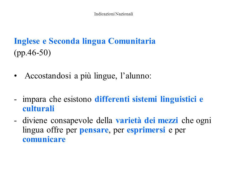 Indicazioni Nazionali Inglese e Seconda lingua Comunitaria (pp.46-50) Accostandosi a più lingue, l'alunno: -impara che esistono differenti sistemi lin