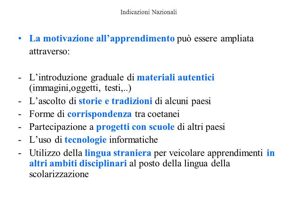 Indicazioni Nazionali La motivazione all'apprendimento può essere ampliata attraverso: -L'introduzione graduale di materiali autentici (immagini,ogget