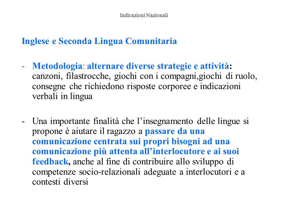 Indicazioni Nazionali Inglese e Seconda Lingua Comunitaria -Metodologia: alternare diverse strategie e attività: canzoni, filastrocche, giochi con i c