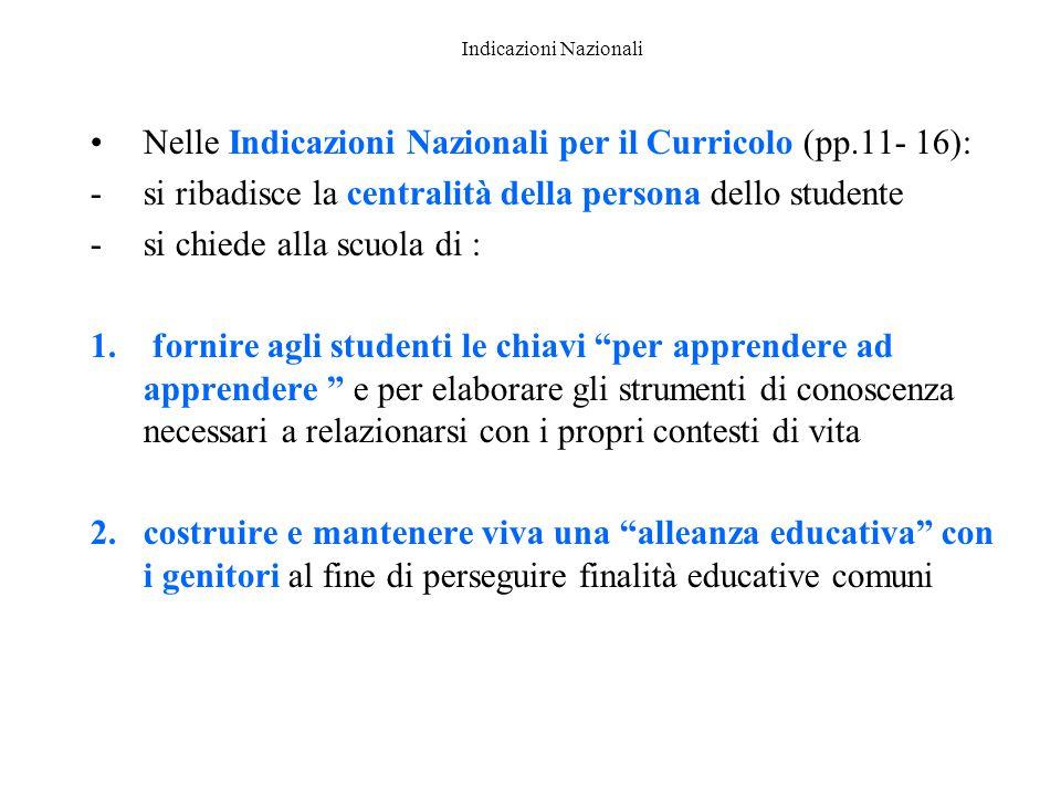 Indicazioni Nazionali Nelle Indicazioni Nazionali per il Curricolo (pp.11- 16): -si ribadisce la centralità della persona dello studente -si chiede al