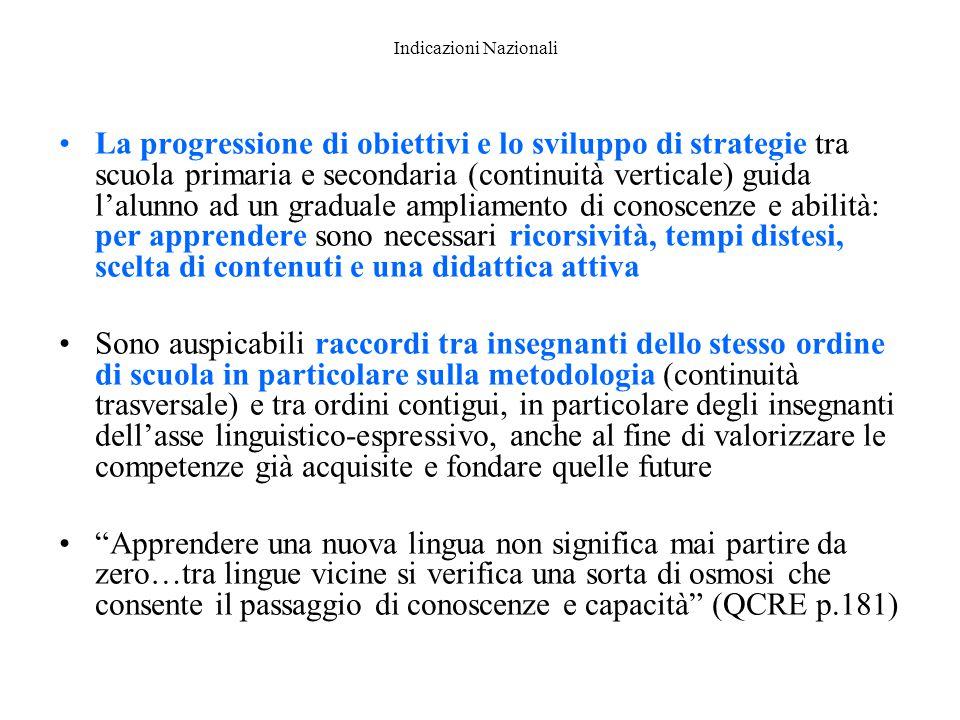 Indicazioni Nazionali La progressione di obiettivi e lo sviluppo di strategie tra scuola primaria e secondaria (continuità verticale) guida l'alunno a