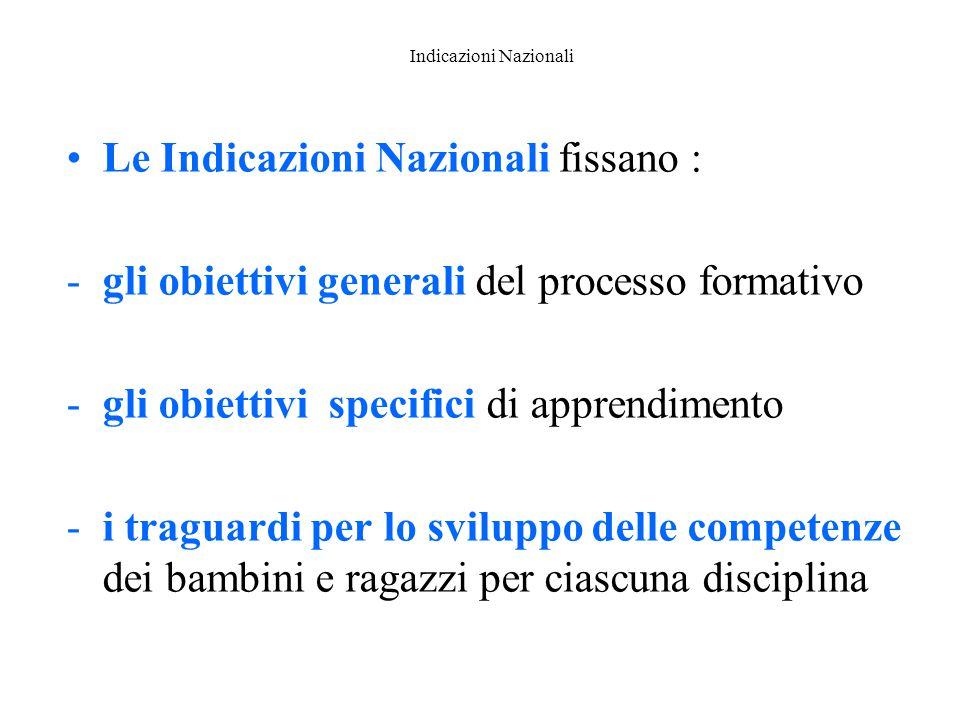 Indicazioni Nazionali Le Indicazioni Nazionali fissano : -gli obiettivi generali del processo formativo -gli obiettivi specifici di apprendimento -i t