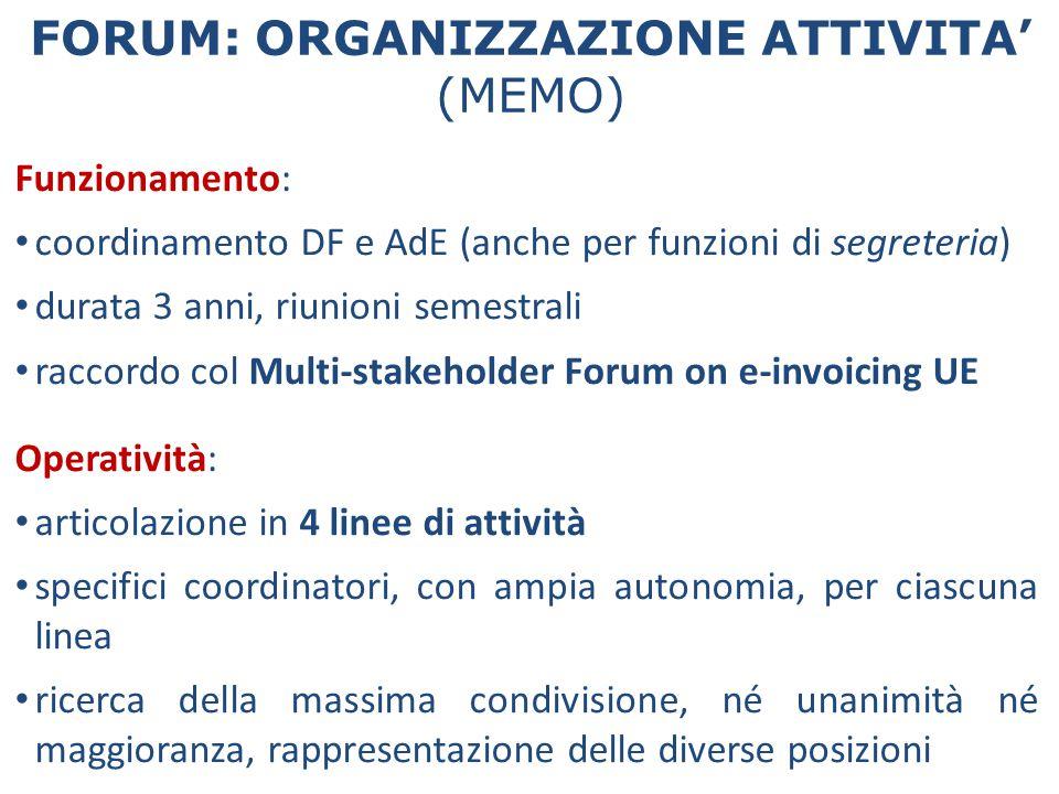 Funzionamento: coordinamento DF e AdE (anche per funzioni di segreteria) durata 3 anni, riunioni semestrali raccordo col Multi-stakeholder Forum on e-