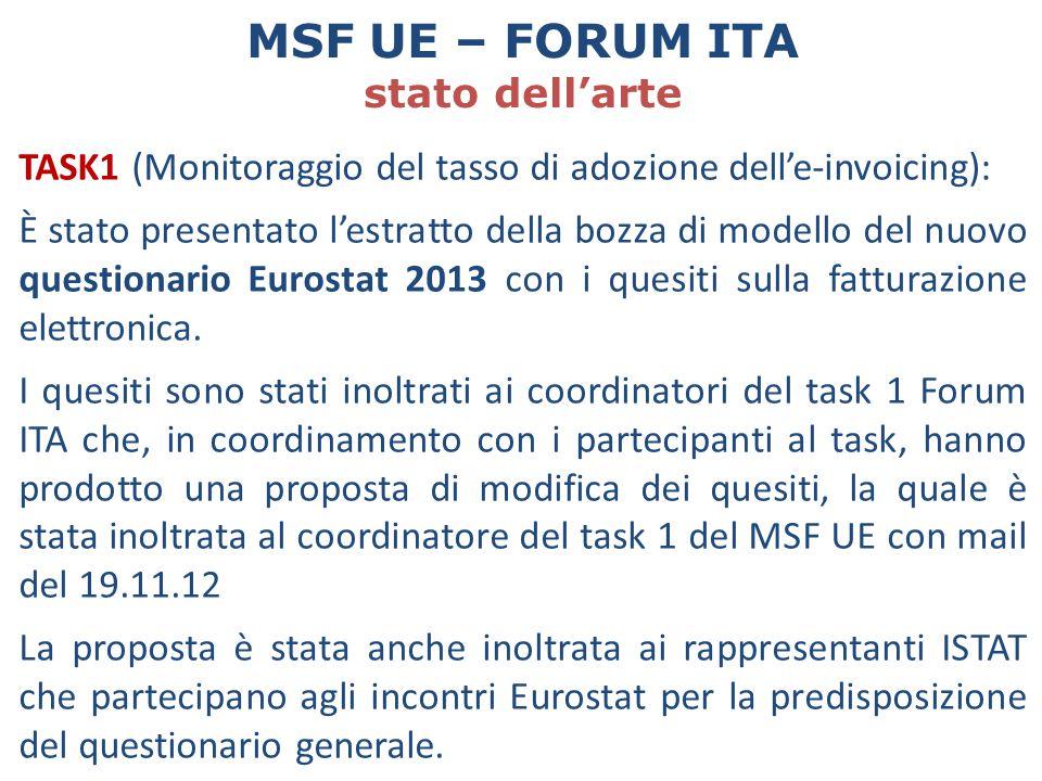 TASK1 (Monitoraggio del tasso di adozione dell'e-invoicing): È stato presentato l'estratto della bozza di modello del nuovo questionario Eurostat 2013