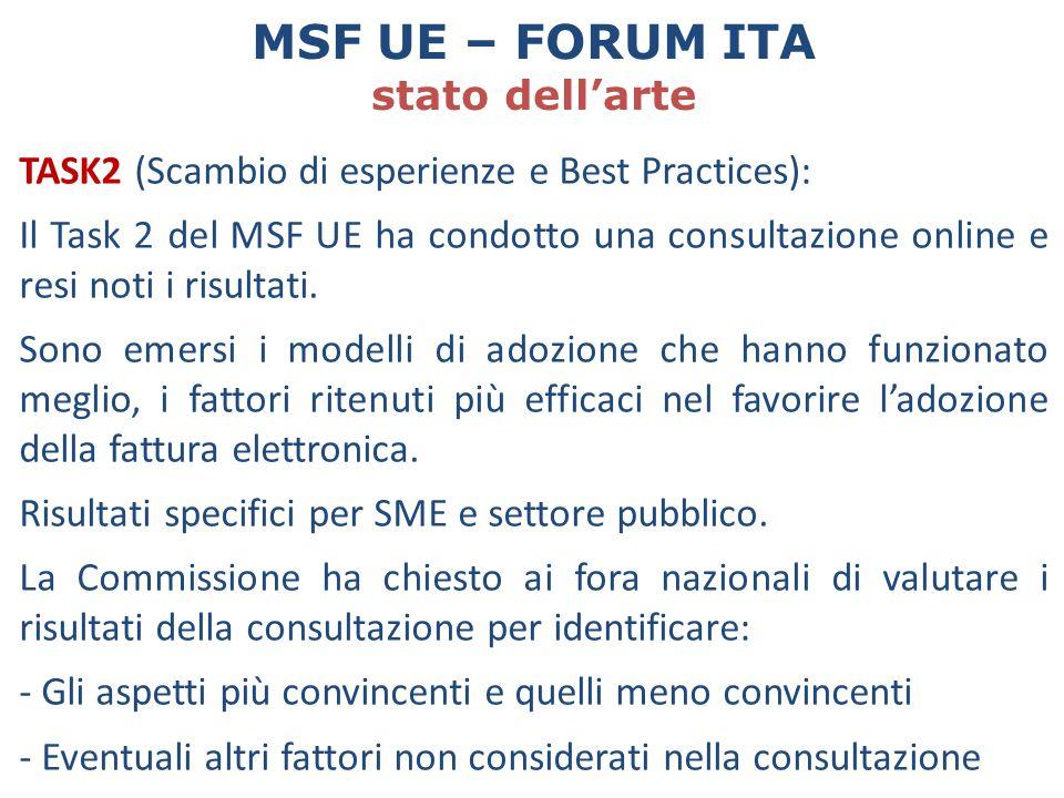 TASK2 (Scambio di esperienze e Best Practices): Il Task 2 del MSF UE ha condotto una consultazione online e resi noti i risultati. Sono emersi i model