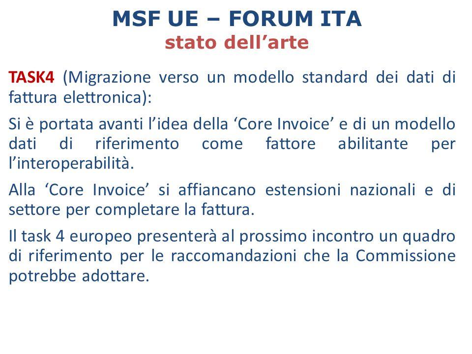 TASK4 (Migrazione verso un modello standard dei dati di fattura elettronica): Si è portata avanti l'idea della 'Core Invoice' e di un modello dati di