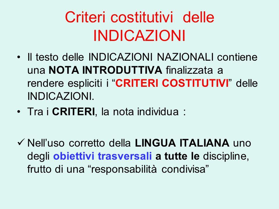 Criteri costitutivi delle INDICAZIONI Il testo delle INDICAZIONI NAZIONALI contiene una NOTA INTRODUTTIVA finalizzata a rendere espliciti i CRITERI COSTITUTIVI delle INDICAZIONI.